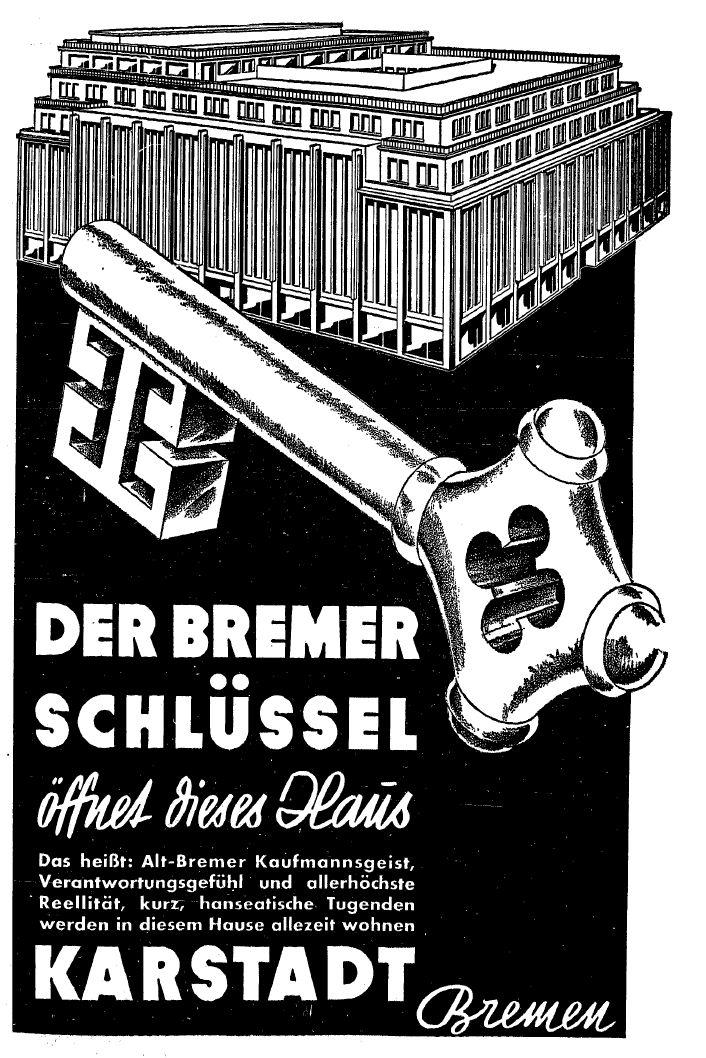 """Mit einer massiven Werbekampagne bereitete Karstadt das Bremer Publikum auf die Neueröffnung des """"Gross-Warenhauses"""" vor. Quelle: Bremer Nachrichten"""