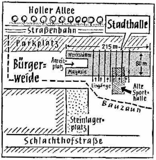 Mitten im Weg: Solange die alte Sporthalle stand, konnte die Stadthalle nicht gebaut werden. Bildvorlage: Weser-Kurier