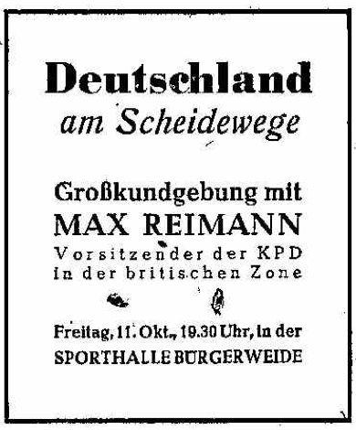Endspurt im Bürgerschaftswahlkampf 1946: In der Sporthalle auf der Bürgerweide sprach auch KPD-Vorsitzender Max Reimann. Bildvorlage: Weser-Kurier