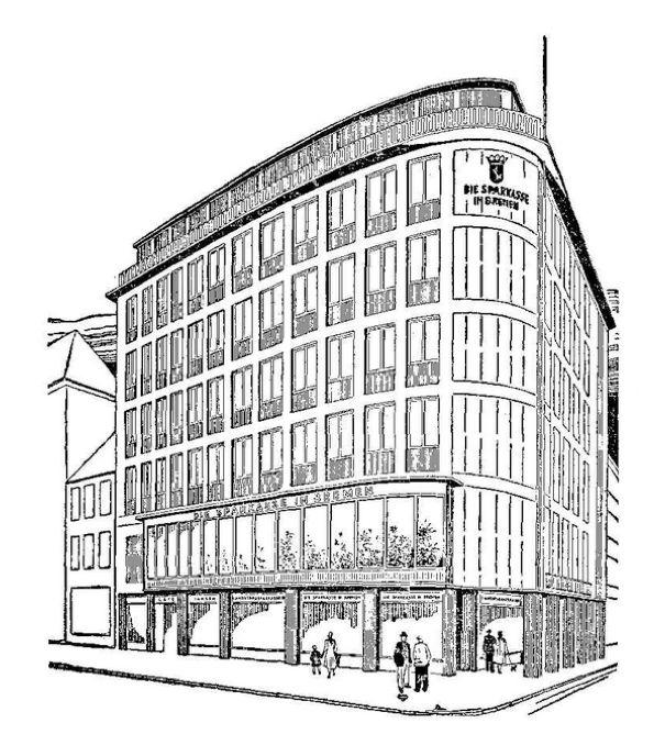 Ganz im Geist der Zeit: Architektenzeichnung des 1954 errichteten Neubaus. Quelle: Archiv des Weser-Kuriers