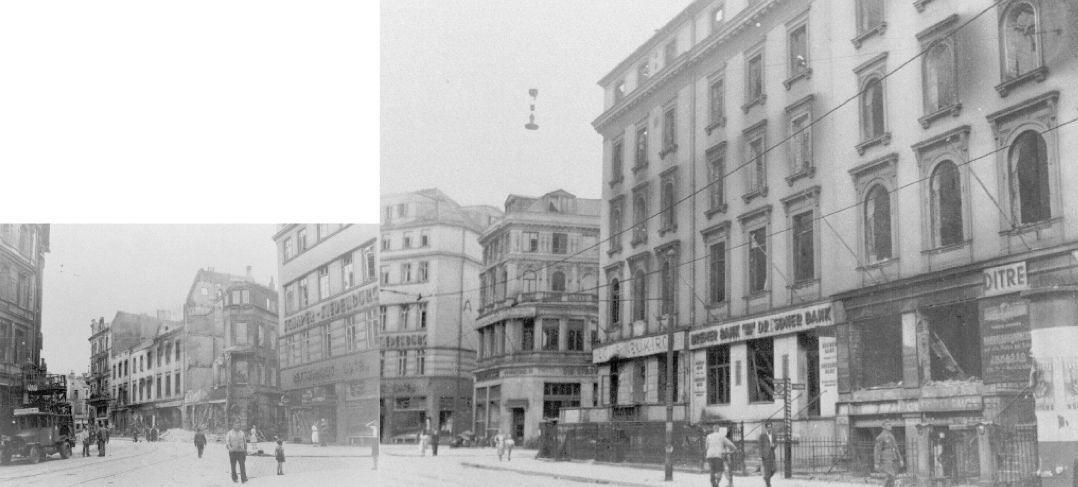 Bahnhofstraße (rechts) von 29 bis 38: Situation nach dem Luftangriff 18./19. August 1944. Rechts neben Nr. 32: Philosophenweg, zwischen Nr. 32 und Nr. 34 (Schaper-Siedenburg): Hinter dem kleinen Barkhof links neben Nr. 34: Marienstraße. Das Hotel Schaper-Siedenburg befindet sich heute auf der gegenüberliegenden Straßenseite Nr. 8. Nr. 34 wurde nicht wieder aufgebaut. Dort ist heute der Durchbruch zum Hillmannplatz.