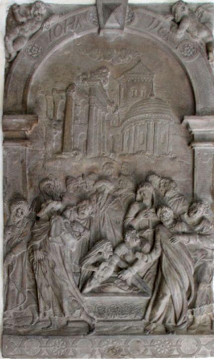 Sandstein-Relief (100 x 58 cm) aus dem Vasmer-Epitaph. Es hängt jetzt in der neuen St. Ansgarii-Kirche. Foto: Peter Strotmann