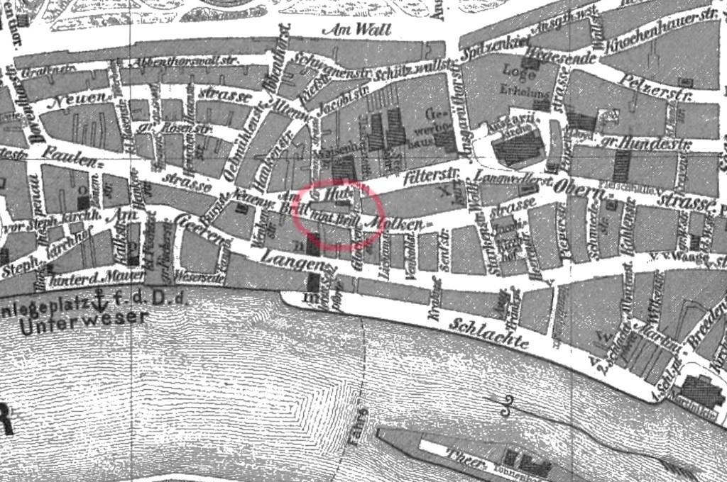 Dicht bebaut: das Brill-Areal auf einem Stadtplan von 1865. Quelle. Wikicommons