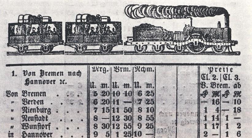 Zivile Preise: Fahrplan der Zugverbindungen nach Hannover. Quelle: Wikicommons