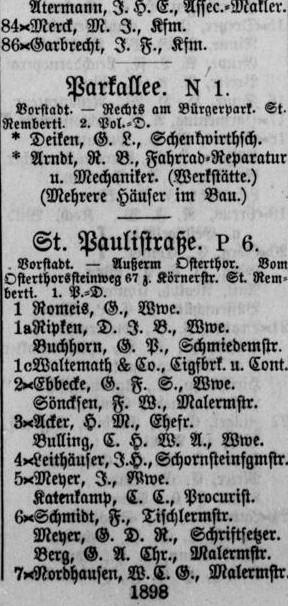 Überschaubare Anzahl von Anliegern an der Parkallee: Ausschnitt aus dem Adressbuch von 1898. Quelle: Staats- und Universitätsbibliothek Bremen