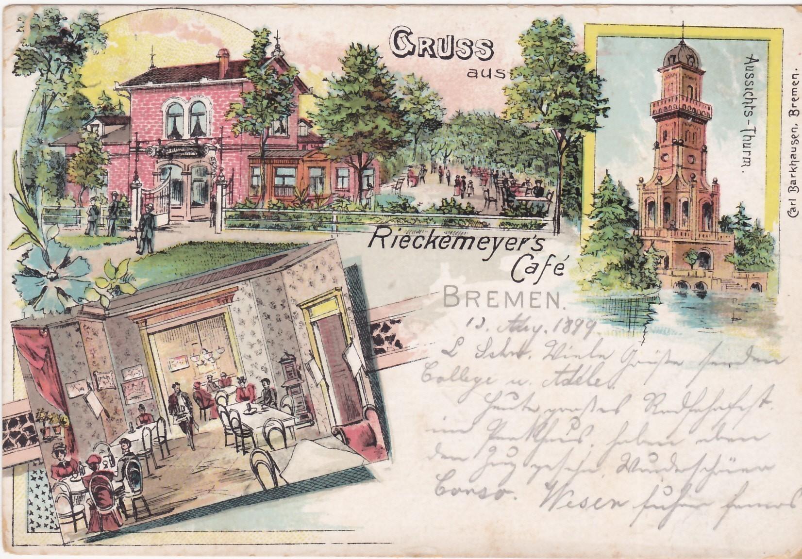 Ausflugsziel Schwachhausen: Werbepostkarte für Rieckemeyers Café mit Abbildung des 1890 fertiggestellten Aussichtsturms, des letzten Werks von Heinrich Müller. Quelle: Schwachhausen-Archiv