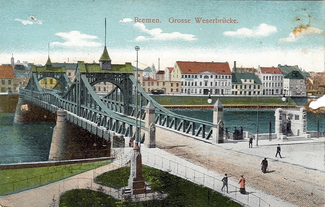 Ein Wahrzeichen der Stadt: die 1895 eröffnete Große Weserbrücke. Quelle: Wikicommons