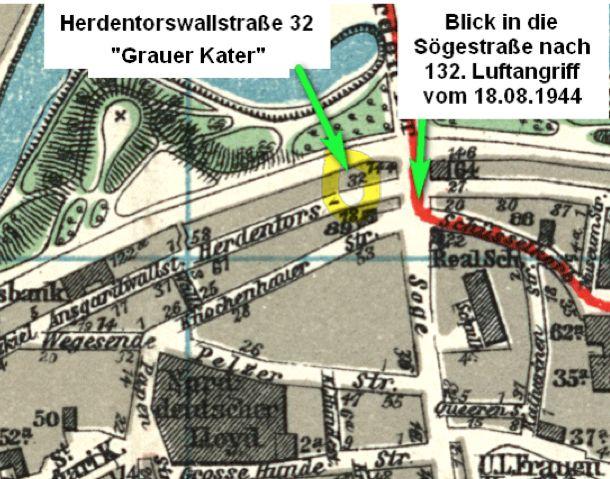 Mitten in der Stadt: Der Standort des Lokals im Zweiten Weltkrieg. Quelle: Stadtplan/Peter Strotmann