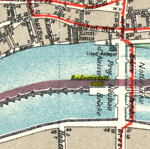 Stadtplan Bremen 1915: Während der Bauzeit für die neue Kaiserbrücke wird der Verkehr über eine Notbrücke geleitet. Die Badeanstalt ist mit gelb markiert.