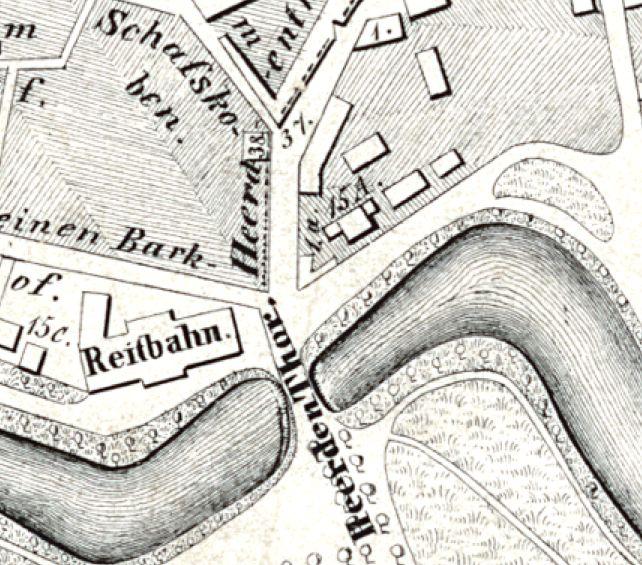 Pferde statt Gemüse: Auf diesem Stadtplan von 1844 ist das Heerden Thor bereits abgerissen, der Wallgraben teilweise zugeschüttet und eine Straße entstanden. Auf der linken Seite der Straße befindet sich jetzt die Reitbahn. Quelle: Peter Strotmann