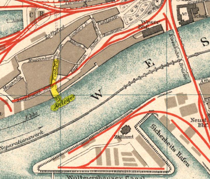 Naherholungsgebiet für die Muggenburger: der Anleger an der Weser. Gelb markiert ist die Straße Fischerdeich, die zum Anleger hinführt. Quelle: Stadtplan Bremen 1898