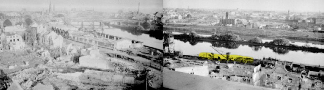 Das alte Hafenquartier Muggenburg nach dem 132. Luftangriff vom 18. August 1944: Aufnahme vom 1. September 1944 vom Bunker Muggenburg mit der Weserfront, Eisenbahnbrücke und Adolf-Hitler-Brücke. Im Vordergrund rechts der Weserbahnhof und das Stephanitorsbollwerk. In der Fotomontage stimmt der Anschlusspunkt der beiden Fotos nicht unbedingt überein. Die Monatge soll lediglich ein Gesamtbild vermitteln. Gelb markiert ist die vermutete Lage des Anlegers am Fischerdeich. Quelle: Staatsarchiv Bremen/Fotomontage: Peter Strotmann