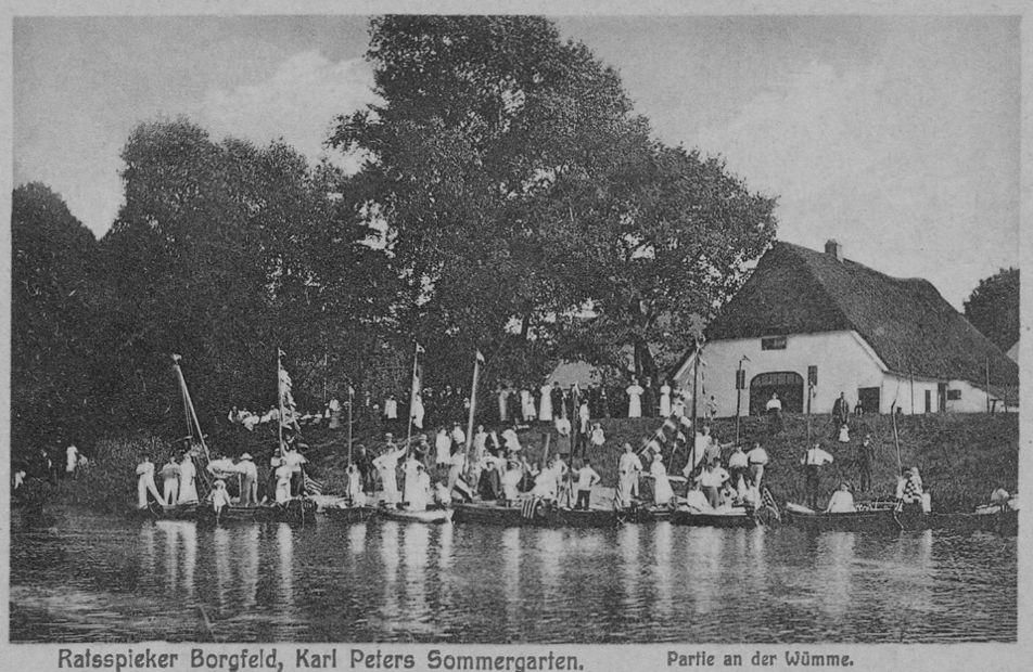 Der Ratsspieker um 1910 als Ausflugsziel. Quelle: Heimatverein Borgfeld und Sportclub Borgfeld
