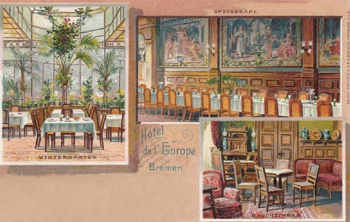 Noblesse pur: Wintergarten, Speisesaal und Rauchzimmer auf einer Ansichtskarte von 1906. Quelle: Peter Strotmann