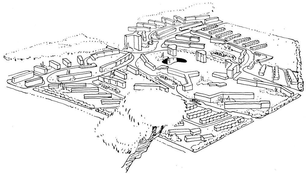 Schluss mit den Baublöcken entlang der Straße: In der Gartenstadt Vahr sollte alles organisch wirken - wie hier auf einer Entwurfszeichnung. Bildvorlage: Archiv bremer zentrum für baukultur (b.zb)
