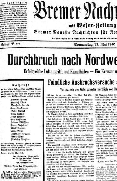 Auf der Titelseite druckten die Bremer Nachrichten die Namen der 16 Bombenopfer ab. In späteren Jahren füllten die Totenlisten ganze Seiten im hinteren Teil der Zeitung. Bildvorlage: Staats- und Universitätsbibliothek Bremen