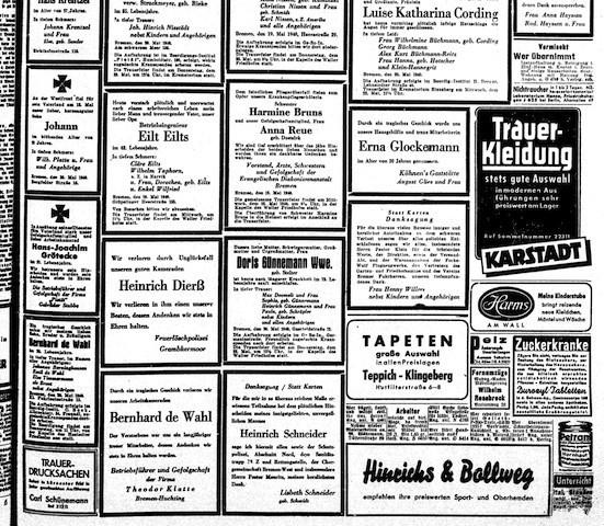 Die ersten privaten Todesanzeigen für die Bombenopfer Heinrich Dierß, Bernhard de Wahl, Harmine Bruns, Anna Reue und Erna Glockemann. Bildvorlage: Staats- und Universitätsbibliothek Bremen