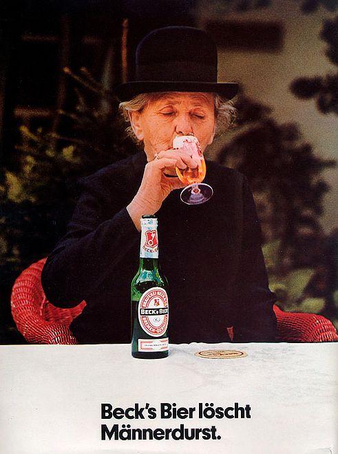 Wirkt widersprüchlich und soll es auch: Beck's-Werbung von 1972. Quelle: Vom Gerstensaft zum Spitzen-Pilsener von Welt, Bremen 2000