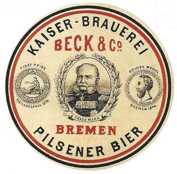 Ganz im loyalen Fahrwasser: Das Unternehmen Beck's nannte sich Kaiser-Brauerei als Hommage an das neue Herrscherhaus. Im Etikett waren die Bremer und die deutschen Farben vereint. Quelle: Vom Gerstensaft zum Spitzen-Pilsener von Welt, Bremen 2000