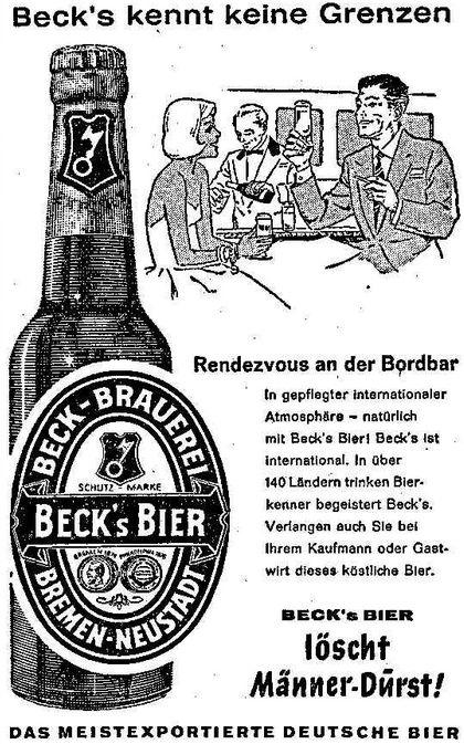 Die geheimnisvolle Frau von der Bordbar trinkt den Gerstensaft: Beck's-Anzeige von 1960. Quelle: Archiv des Weser-Kuriers