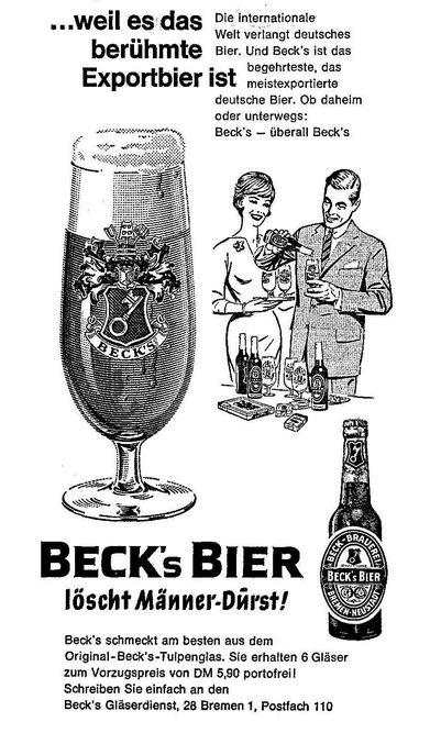 Die brave Frau daheim hält das Tablett: Beck's-Anzeige von 1962. Quelle: Archiv des Weser-Kuriers