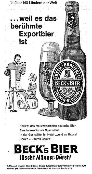 Der Mann doziert, die Frau lauscht und darf mittrinken: Beck's-Anzeige von 1963. Quelle: Archiv des Weser-Kuriers