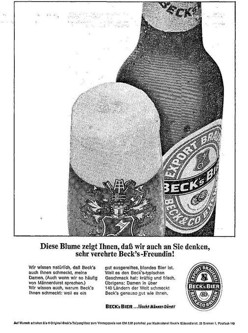 Irgendwo zwischen charmant und gönnerhaft: Beck's-Anzeige von 1965. Quelle: Archiv des Weser-Kuriers