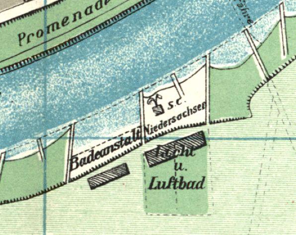 Das Damenbad auf einem Stadtplan von 1908... Quelle: Peter Strotmann