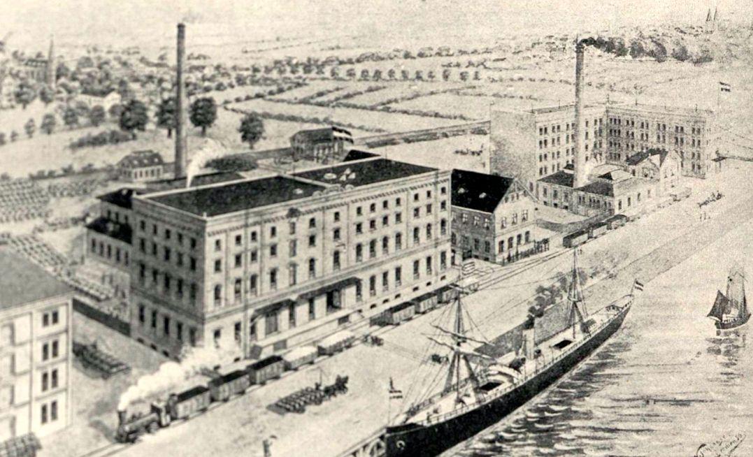 Die Bremen-Besigheimer Oelfabriken AG am Holzhafen vor dem Brand 1906. Links: die Waller Kirche, rechts die soeben restaurierten Türme des Doms. Quelle: Staatsarchiv Bremen
