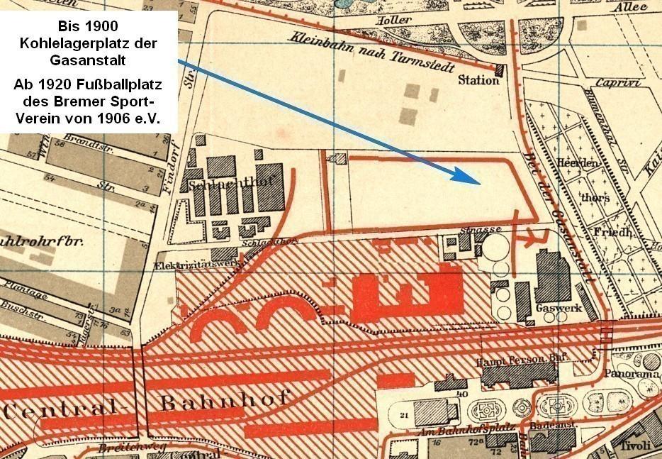 Stadtplan von 1900: Gekennzeichnet ist der Platz, auf dem bis 1900 die Kohle für das Gaswerk gelagert wurde und von 1919 bis 1920 der Fußballplatz des Bremer Sport-Vereins von 1906 e.V. entstand. - Der Herderthors-Friedhof wurde 1875 aufgegeben und eine Parkanlage angelegt. Er hieß Gustav-Deetjen-Park und wurde 2014 in Nelson-Madela-Park umbenannt. Quelle: SuUB/Peter Strotmann