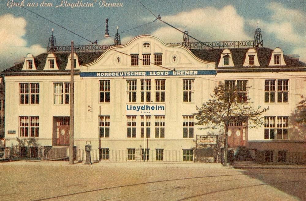 Die letzte Station vor dem Sprung über den großen Teich: das Lloydheim in Findorff. Quelle: Peter Strotmann, Ansichtskarte 1920er