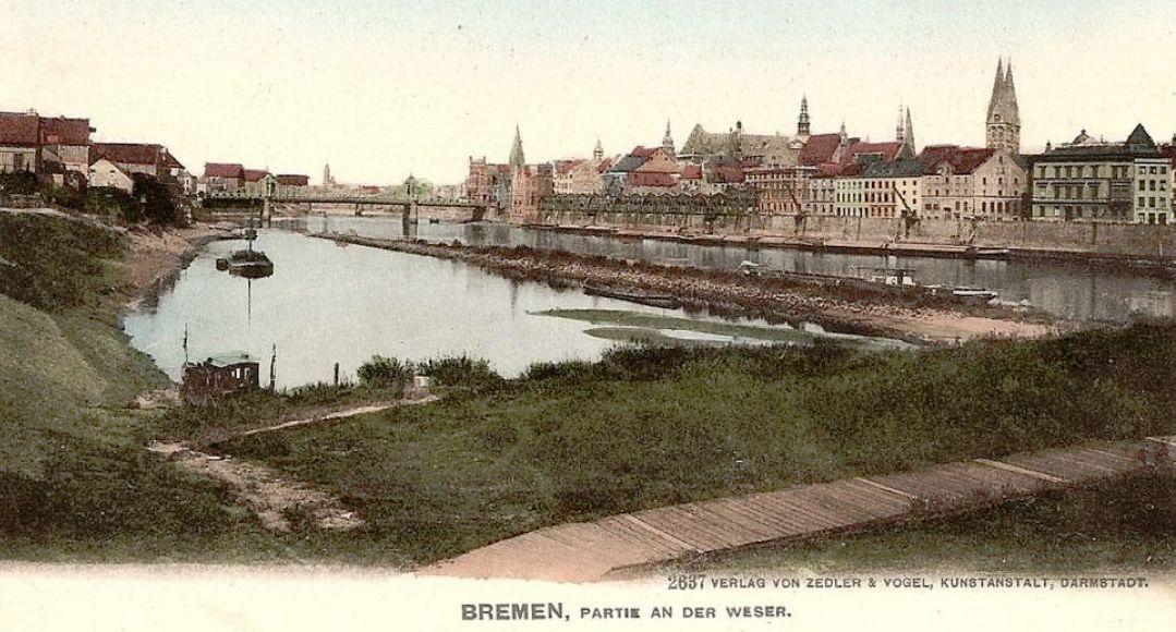 Völlig anders als ein paar Jahre zuvor: der Oberländer Hafen um 1906. Die Einfahrt zum Teilstück zwischen der großen und kleinen Weser ist bereits verfüllt. Quelle: Peter Strotmann