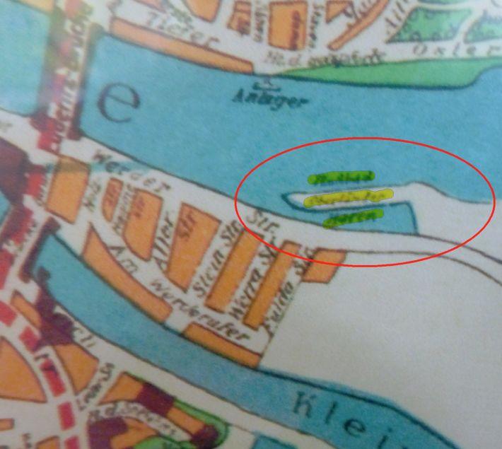 Der Oberländer Hafen auf einem Stadtplan von 1939. Quelle: Staatsarchiv Bremen
