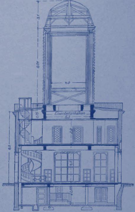 Zwei unterkellerte Stockwerke und darüber die Werbesäule: Schnitt durch das Gebäude. Quelle: Staatsarchiv Bremen