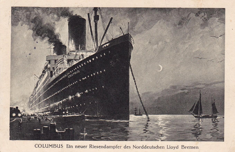 Das Schiff für die Passage in die neue Welt: der NDL-Dampfer Columbus. Quelle: Peter Strotmann