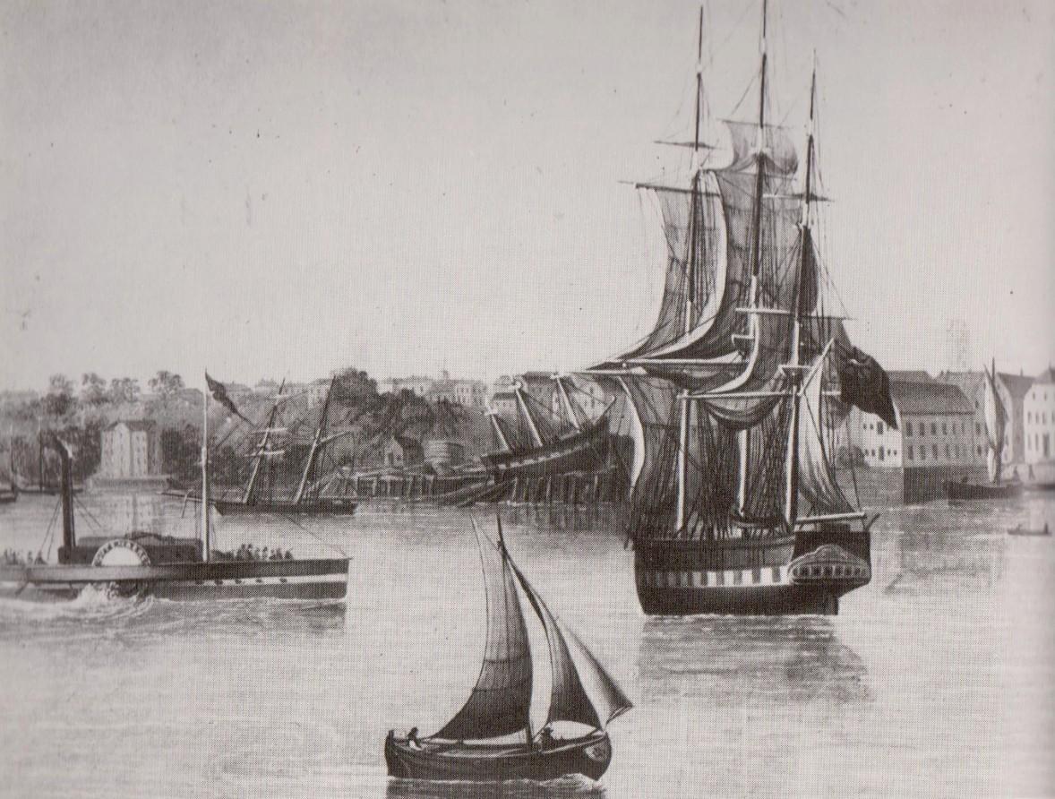 Ein traditioneller Werftstandort: Auf dem Längshelgen der Jantzen-Sagerschen-Werft wird ein Dreimaster gebaut. Gemälde von H. Fedeler, 1847 Quelle: Wikicommons