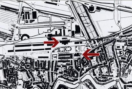 Stadtplan um 1880: Der obere Pfeil zeigt den Standort des Hannoverschen Bahnhofs an, der untere den des Breitenwegbads. Bildvorlage: Privat