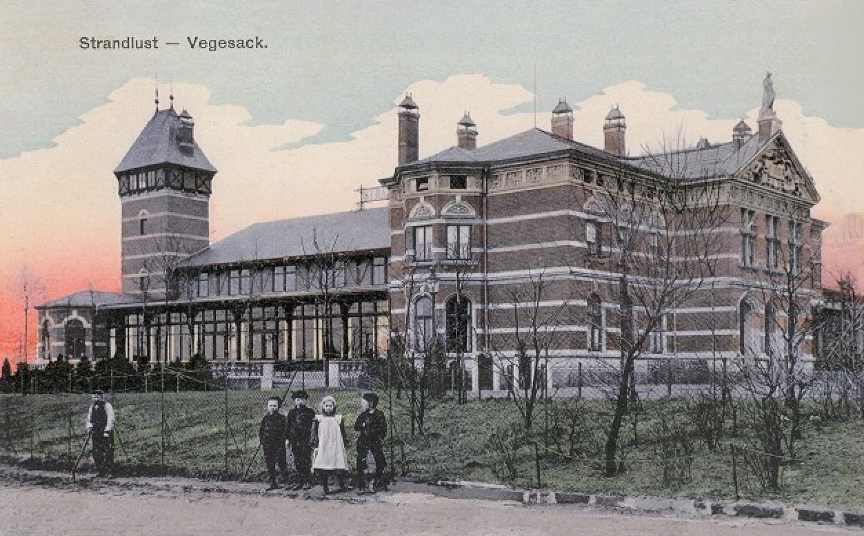 Noch ein Neubau: das Etablissement Standlust auf einer kolorierten Ansichtskarte von 1910. Quelle: Peter Strotmann