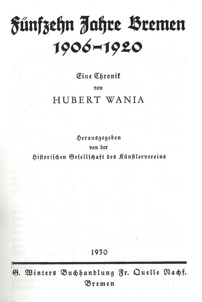 Eher schlicht gehalten: Titelblatt der zweiten Bremen-Chronik von 1930. Quelle: Vero Verlag