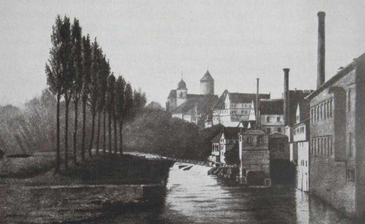Das Stammwerk in Besigheim am Neckar, Foto von 1925. Quelle: Deutsche-Olmühlen-Industrie 1925