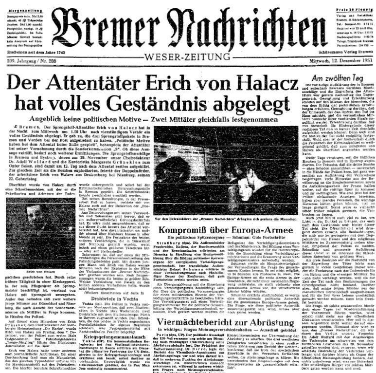 Das Ende vom Lied: Erich von Halacz brach unter der Beweislast zusammen. Quelle: Staatsarchiv Bremen