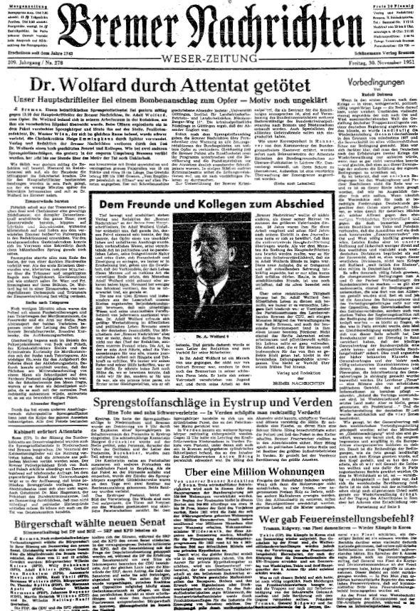 Die Todesnachricht: Am Tag nach dem Mordanschlag das beherrschende Thema auf der Titelseite seiner Zeitung. Bildvorlage: Staatsarchiv Bremen