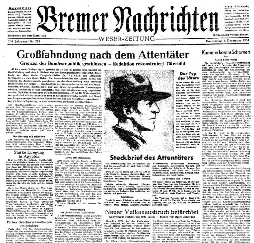 Die Bremer Nachrichten hielten ihre Leser mit großen Aufmachern auf dem Laufenden. Am 6. Dezember 1951 lief eine Großfahndung an, das Phantombild des Verdächtigen trug entscheidend zum Erfolg bei. Quelle: Staatsarchiv Bremen
