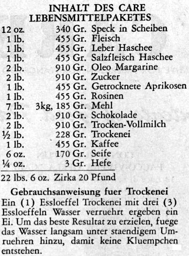 "Inhalt des CARE Lebensmittelpaketes von 1947 Auszug aus der in 13 Sprachen abgefassten ""Contents of Food Package"" Quelle: Staatsarchiv Bremen"