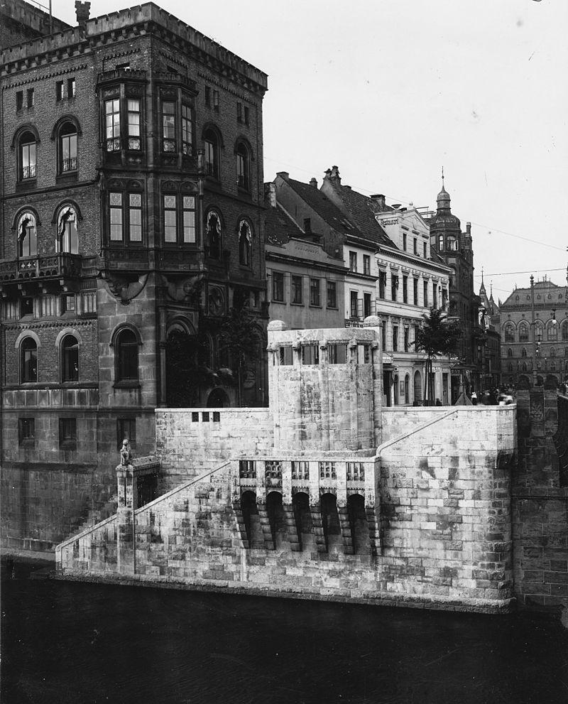 Franzius-Denkmal Rueckseite von Grosser Weserbruecke 1908