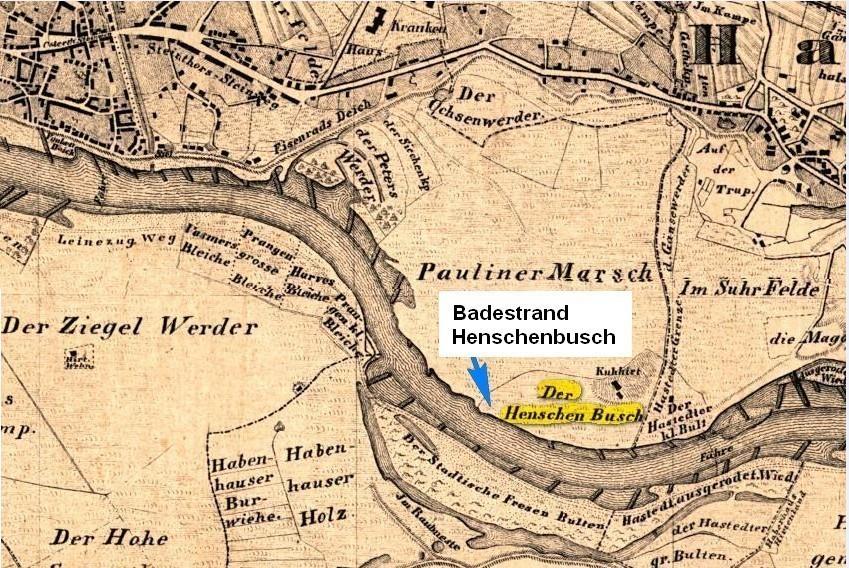 Auf dem Stadtplan von 19851 ist markiert, wo heute der Badestrand Henschenbusch liegt. Das im südlichen Teil liegende Gehöft Kuhhirt ist heute das Restaurant Jürgenshof Quelle: Karte von Thätjenhorst, H., Duntze, A., Hunckel, G.