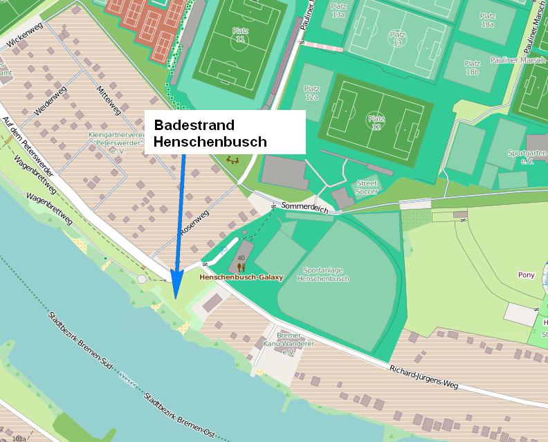 Badestrand Henschenbusch auf einer Karte von 2016 Quelle: Openstreetmap