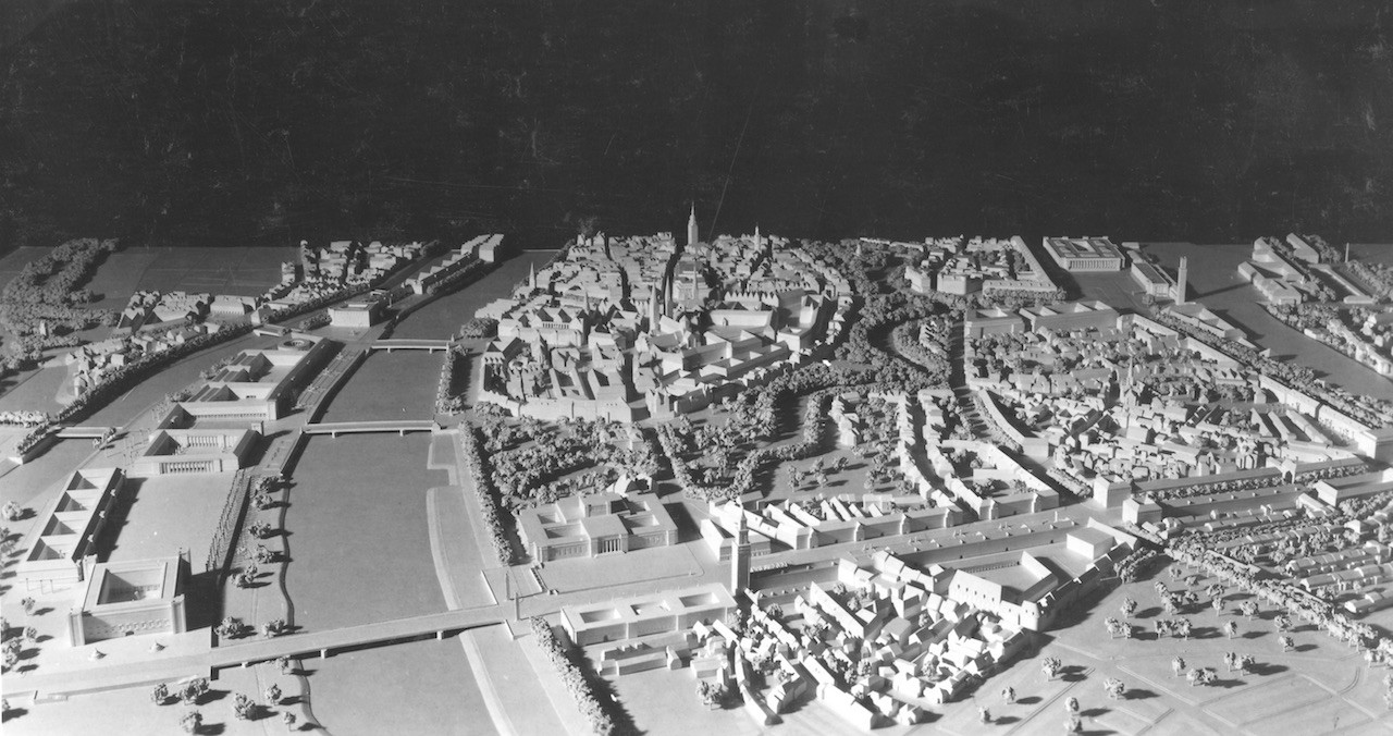 Viel Platz für Aufmärsche: So stellte sich Gerd Offenberg den Umbau Bremens und die Osttangente 1941 vor. Quelle: Bildarchiv des Bremer Zentrums für Baukultur – b.zb