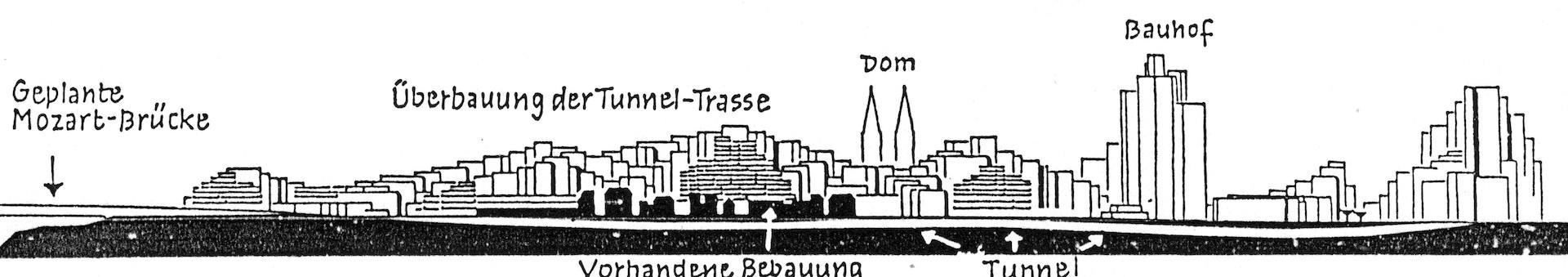 Hochhausüberbauung im Ostertorviertel nach den Plänen des Städtebauinstituts Nürnberg. Schematische Darstellung im Weser-Kurier am 7.3.1972. Quelle: Weser-Kurier
