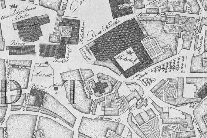 Häuser und Gärten: das Areal südlich des Doms auf dem Murtfeldt-Stadtplan von 1796. Quelle: Staatsarchiv Bremen